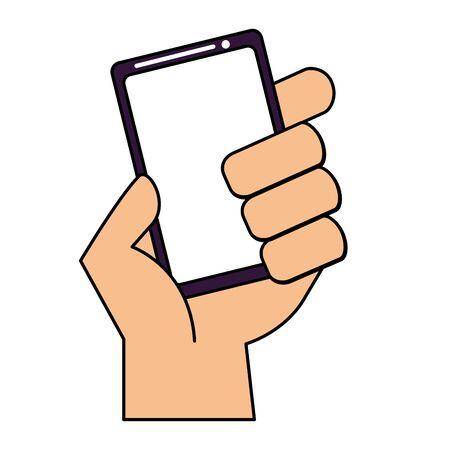 hand holding smartphone device on white background vector illustration Illusztráció
