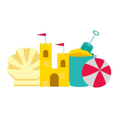 vacations sand castle bucket ball and shell vector illustration