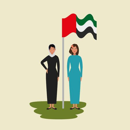 islamic women with traditional burka and arabia flag in pole vector illustration design