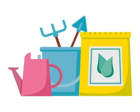 watering can fertilizer bucket rake shovel tools gardening flat design vector illustration