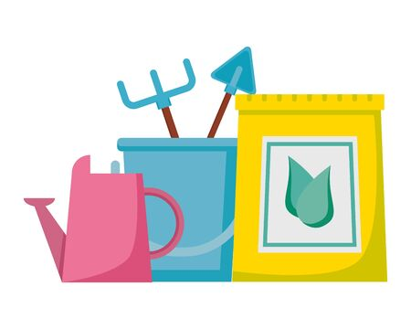 watering can fertilizer bucket rake shovel tools gardening flat design vector illustration