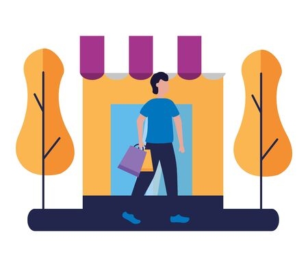 man with shopping bag in the street store commerce vector illustration