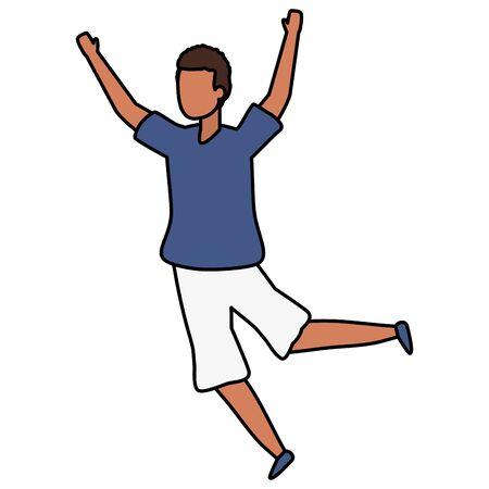 happy man celebrating arms up vector illustration Stok Fotoğraf - 129520027