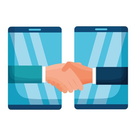 hands business persons done deal with smartphones vector illustration design Standard-Bild - 129520158