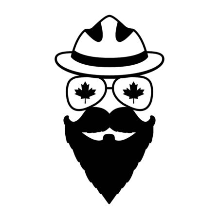 face beard mustache glasses maple leaf hat happy canada day vector illustration Illustration