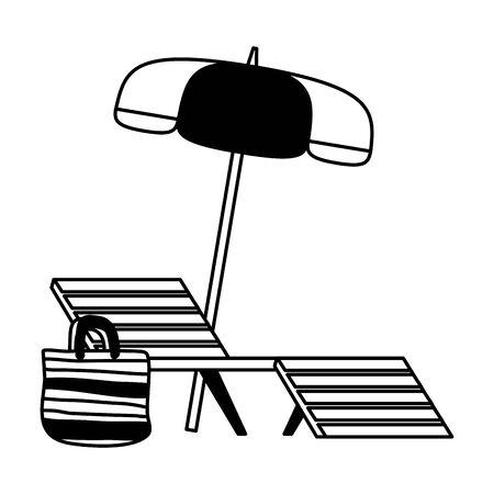 summer time deck chair umbrella and bag vector illustration Vektorové ilustrace