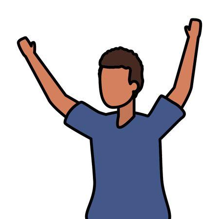 happy man celebrating arms up vector illustration Standard-Bild - 129520174