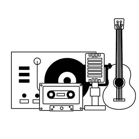guitar microphone cassette turntable vinyl equipment festival music vector illustration Çizim