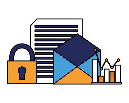 email document diagram padlock cyber security data vector illustration Иллюстрация