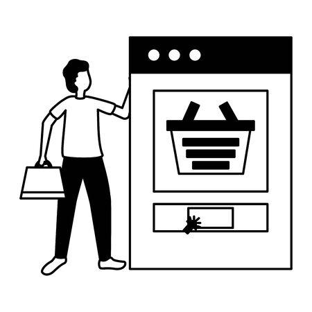man smartphone online shopping bag commerce vector illustration Ilustração