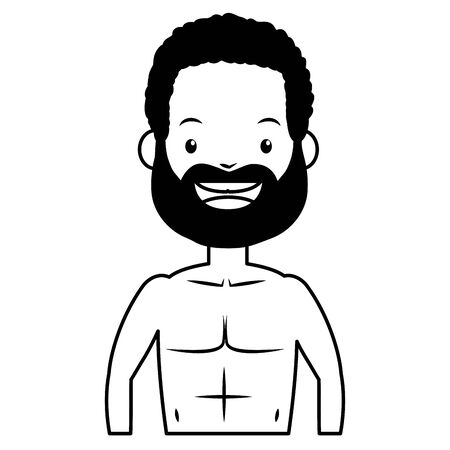 summer time man character shirtless vector illustration