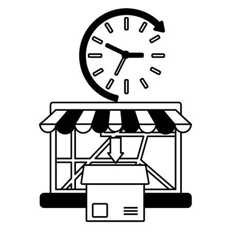 laptop cardboard box order clock fast delivery logistic vector illustration