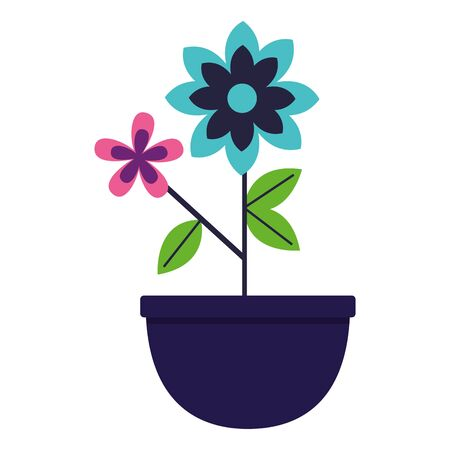 flowers in pot plant decoration vector illustration