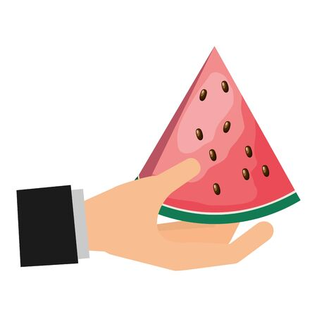 hand with slice watermelon tropical fruits vector illustration