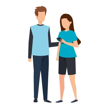 young couple using smartphone characters vector illustration design