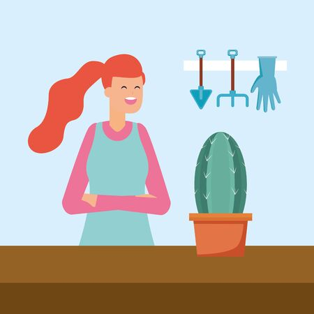 woman with cactus in pot and tools gardening vector illustration