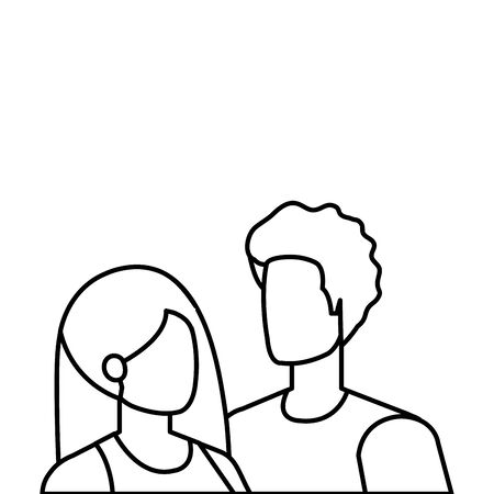 young lovers couple avatars characters vector illustration design 向量圖像