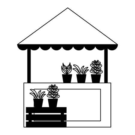 illustrazione di vettore della natura delle piante dello stand del commercio di strada Vettoriali