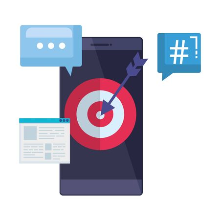 smartphone with webpage template and target arrow vector illustration design