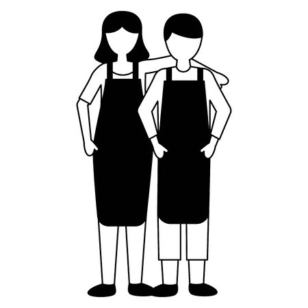 seller man and woman characters on white background vector illustration Çizim