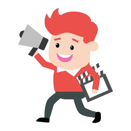 man with clapboard and speaker film production vector illustration