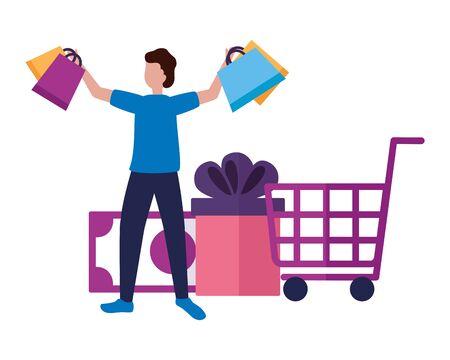 man money gift cart shopping bags commerce vector illustration Illustration