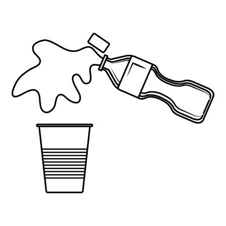 plastic bottle serving liquid in disposable cup vector illustration design