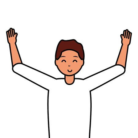 happy young man character on white background vector illustration Illustration