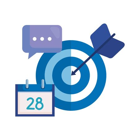 target arrow success with calendar and speech bubble vector illustration design Stockfoto - 129749004