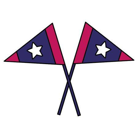 drapeaux américains sur fond blanc vector illustration