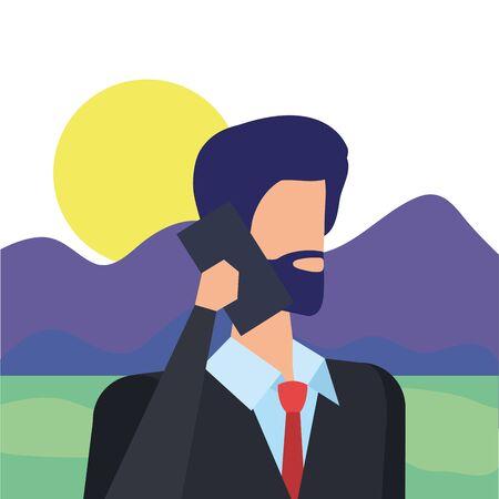 businessman worker calling with smartphone in the camp vector illustration design Illustration