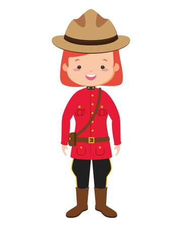 canadian police mounted woman happy canada day vector illustration Stock Illustratie