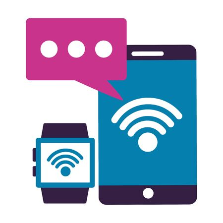smartphone smart watch message wifi internet connection vector illustration Reklamní fotografie - 129531517