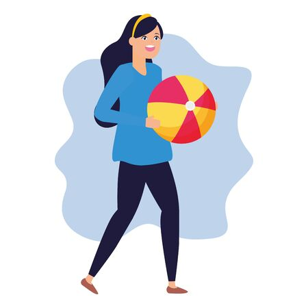 happy woman holding beach ball vector illustration