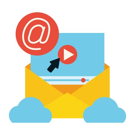 cloud computing envelope click web send email vector illustration