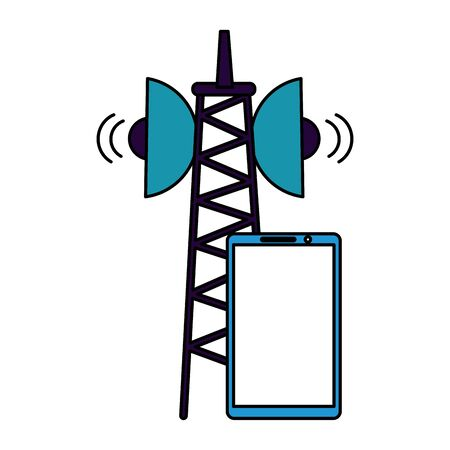 smartphone device antenna signal on white background vector illustration Ilustração