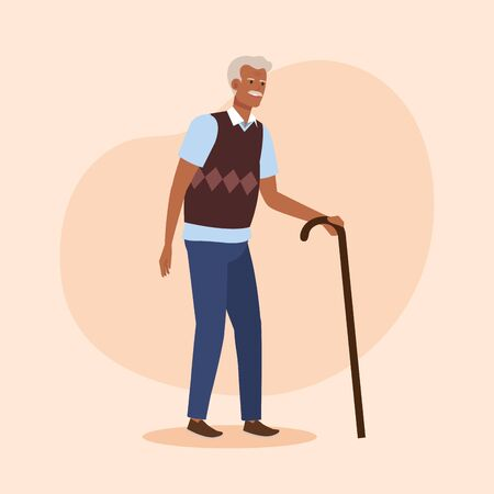 old man with shirt and vest with walking stick over pink background, vector illustration