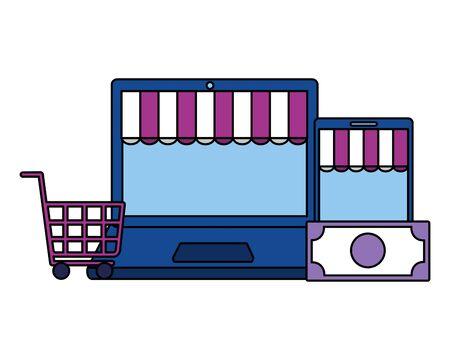 online shopping ecommerce laptop smartphone cart money vector illustration Ilustração