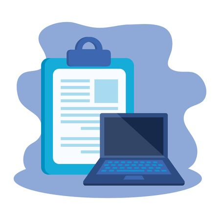 Checkliste Zwischenablage mit Laptop-Computer-Vektor-Illustration-Design