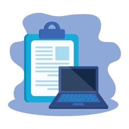 Lista de verificación portapapeles con diseño de ilustración de vector de computadora portátil