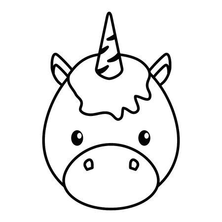 cute little unicorn baby head character vector illustration design