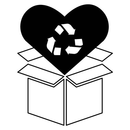 cardboard box love recycle eco friendly environment vector illustration 写真素材 - 129531755