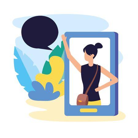 smartphone woman internet talking bubble vector illustration