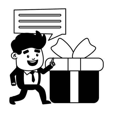 businessman online payment gift box vector illustration