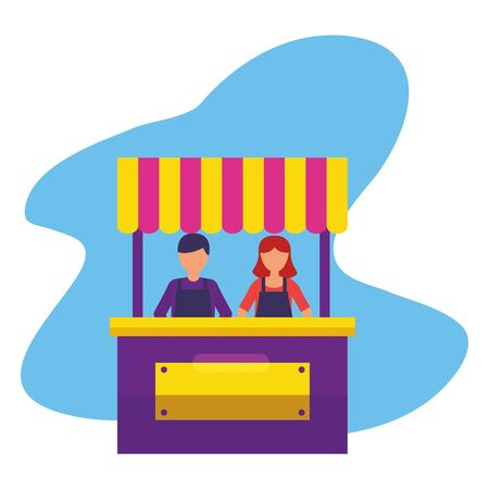 people booth food street park design vector illustration