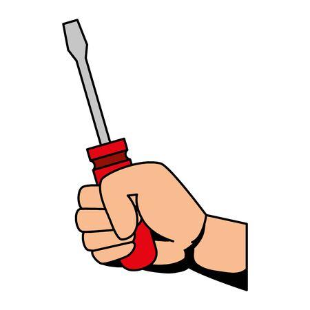 hand with screwdriver metal tool vector illustration design