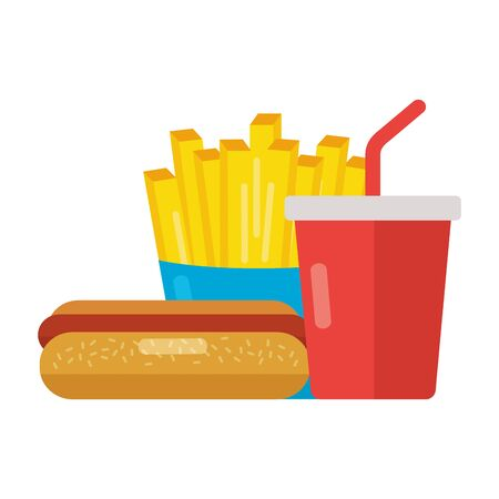 fast food hot dog french fries and soda vector illustration Illustration