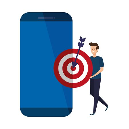 young man with smartphone and target vector illustration design