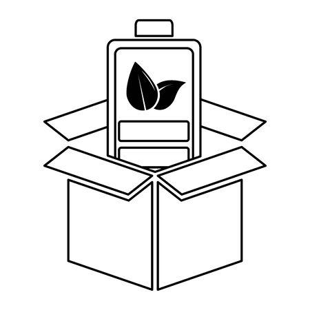 battery cardboard box eco friendly environment vector illustration
