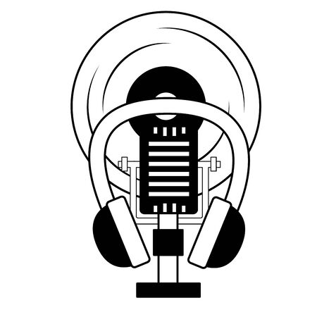 microphone earphones vinyl music background vector illustration Ilustração